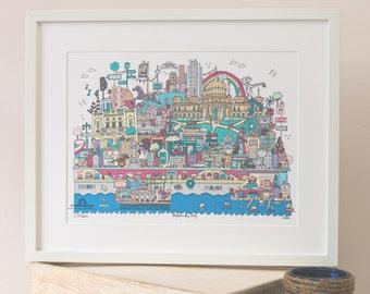 Brighton Art. Colour Giclée print A3 FRAMED
