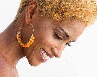 Large  agate earrings,  Stone hoops earrings