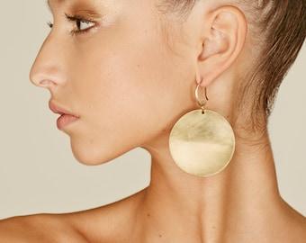 Drop earrings, Disc earrings, Africa earrings, dangle earrings, Boho tribal earrings, Big earrings, African earrings, Minimal earrings.