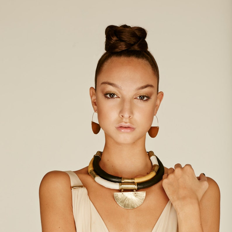 Statement necklace for women. Leather Bib necklace with image 0