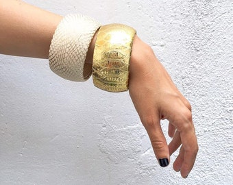 Chunky statement bracelet made in wood and leather, Bold woman bracelet set, Jewelry Set