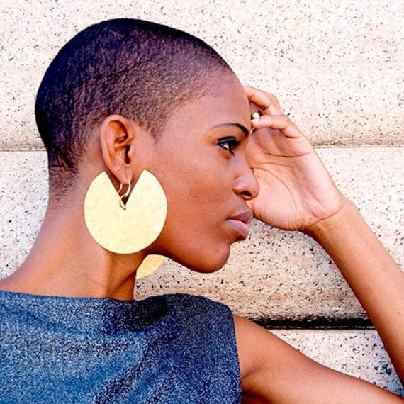 African statement earrings Mix match bold earrings Tribal Sculptural earrings
