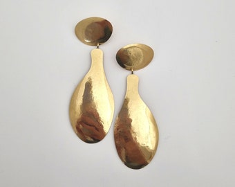 Dramatic drop earrings, Extra Large statement drop golden earrings, Drop earrings with clip ons, Eye catcher earrings