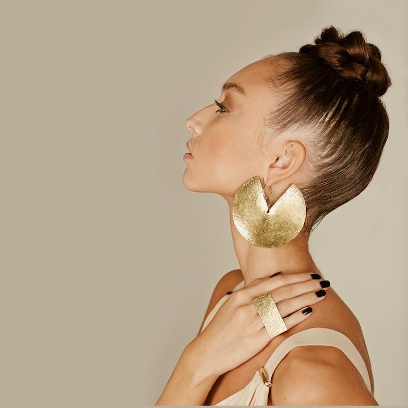 Statement earrings brass earrings African earrings XL Model SIZE