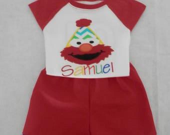 Elmo Birthday T-shirt, Elmo tshirt, Personalized Elmo Tshirt and Shorts set, Elmo Birthday Outfit