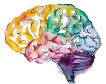 Brain watercolor painting-- watercolor print, brain print, medical art, science art, anatomy illustration, modern anatomy