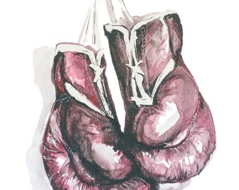 Giclee watercolor PRINT of Original Boxing Gloves Painting-- boxer art, boxing painting, giclee print, watercolor boxing gloves