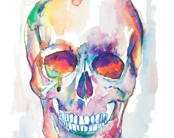 Skull watercolor painting-- watercolor print, heart print, neuro art, science art, anatomy illustration, neurology anatomy