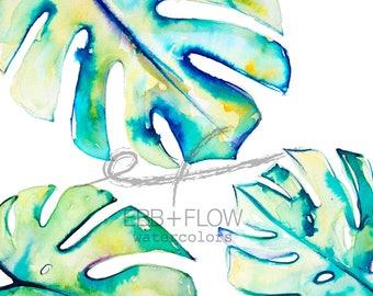 Monstera deliciosa watercolor painting-- watercolor print, tropical leaf print, leaf art, botanical art, leaf illustration