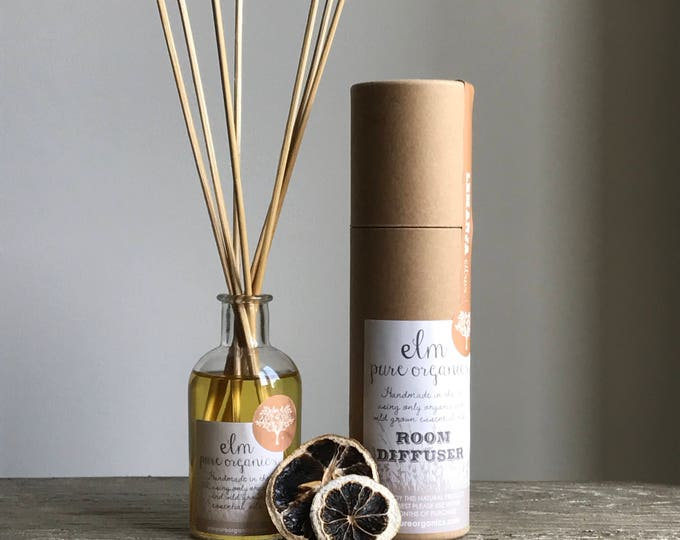 Christmas Organic Reed Diffuser. Clove, Bergamot Essential Oils. Eco-friendly. Home fragrance.