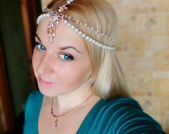 bridal chain hair band comb pearl