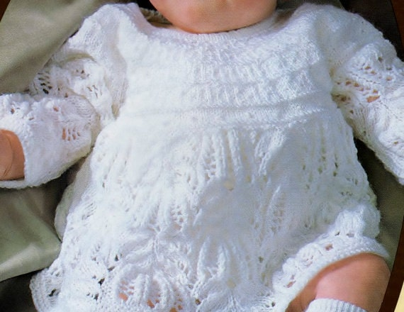 Knitting pattern, baby sweater, angel top, baby girl, baby dress ...