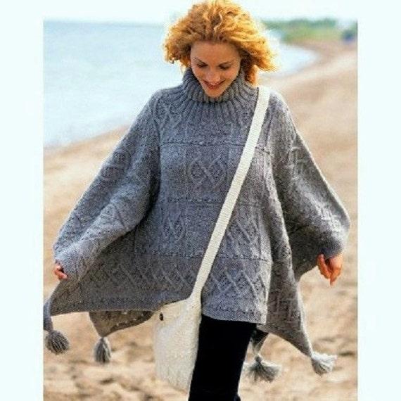 Vintage Knitting Pattern Poncho Cape Wrap Cloak Aran Roll Neck Etsy