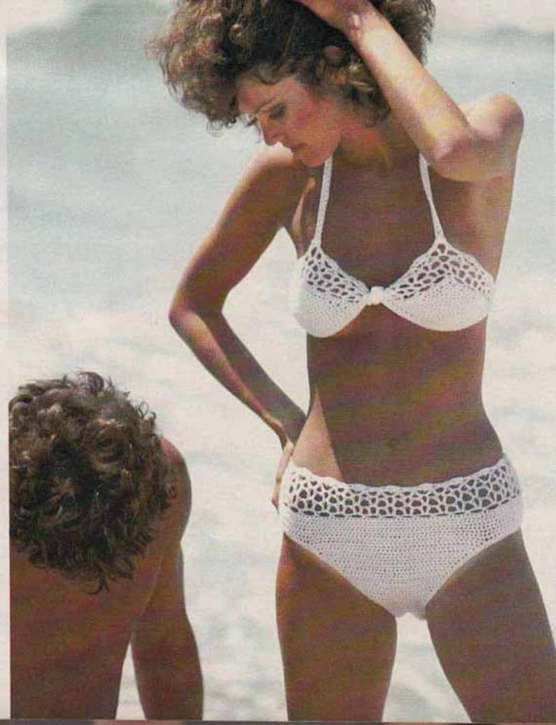 5a97947421f Vintage 70s Retro Crochet Pattern Bikini Sizes 8 to 14   Etsy