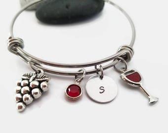 wine lovers bracelet - adjustable bangle bracelet - wine lovers jewelry - merlot bracelet - initial stamped bracelet - personalized bracelet