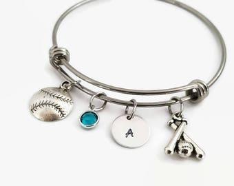 Softball bracelet - Personalized softball bangle - Softball mom jewelry - Softball gift - Girls softball gift - Gift for softball mom
