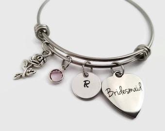 Bridesmaid bracelet - Bridesmaid bangle - Personalized Bridal party gift - Gift for bridesmaid - Bridesmaid gift - wedding party bangle