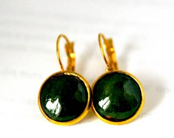 Dark green earring, autumn color, for winter, simple, light earrings, artisanal, for gift