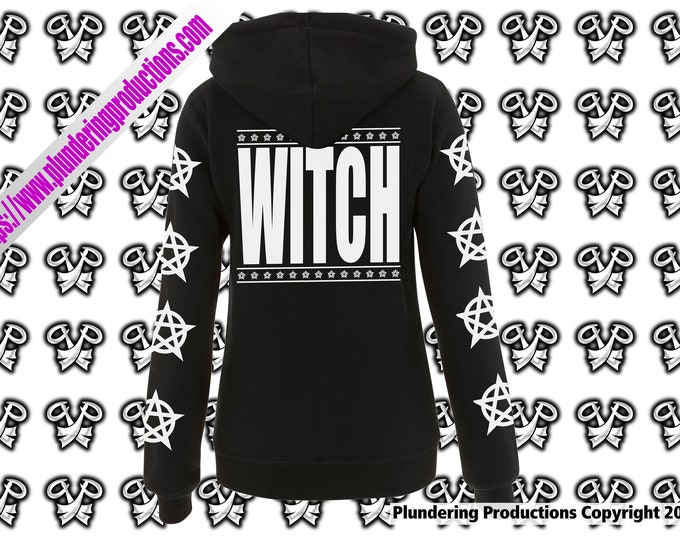Featured listing image: WITCH design women's High Neck Zip-Up Hoodie | Plundering Productions