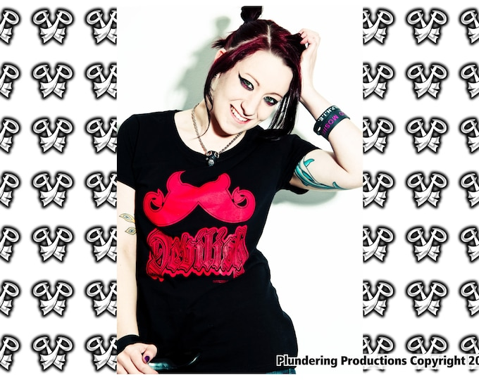 Featured listing image: punk Ladies fit T-shirt black goth heavy metal devil demon satan satanic size Small to 2XLarge Devilish Moustache by Plundering Productions