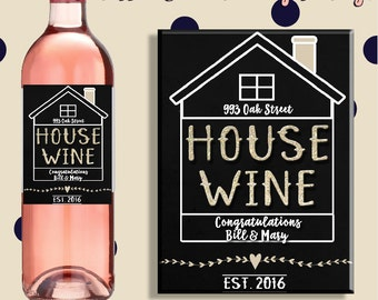 House Wine Custom Housewarming Gift - Custom Wine Label for Homewarming - Personalized Wine Label - Ships Free - House warming Wine Label