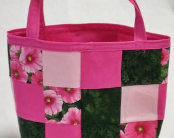 Small Pink and Green Floral Patchwork Tote Bag, Small Tote Bag, reusable Gift Bag