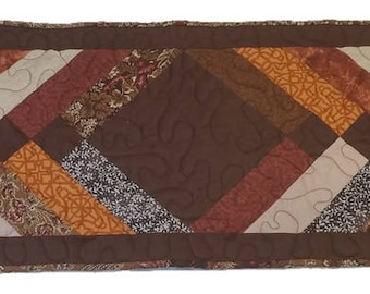 Table Runner, Brown Table Runner, Braided-style table runner, Quilted