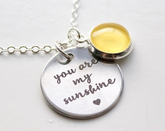 You Are My Sunshine Necklace - Hand Painted Charm - Yellow Necklace - Sunshine Pendant4
