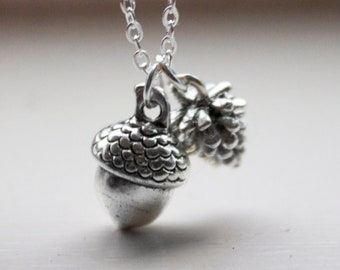 Acorn and Pinecone Necklace -Woodland forest Acorn Charm Necklace - 3d Pinecone Pendant