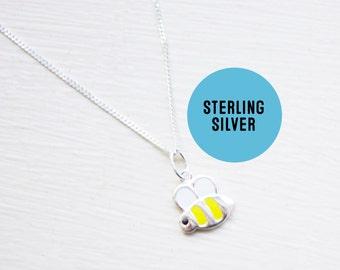 Sterling Silver Bumblebee Necklace- Honeybee Necklace -  Silver Bee Honey Pendant - Tiny Bee Necklace