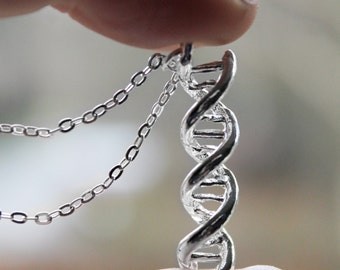 DNA Necklace - Double Helix Charm - Science Necklace - Double Helix Charm Genetics Molecule Pendant