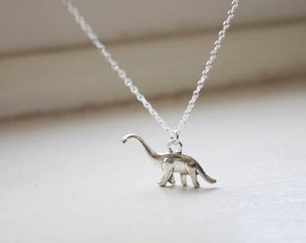 Dinosaur Necklace - Diplodocus Dinosaur Charm - Dino Necklace - Jurassic Pendant