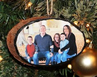 Photo Ornament, Wood Slice | Bark Photo Ornament | Rustic Photo Ornament | Personalized Photo Ornament |  Photo Ornament | Wooden Ornament