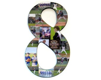 "Number 8 8th Photo Collage Huge 18"" Number Picture Collage Birthday Anniversary Party Senior Night Jersey Number Graduation Fraternity"