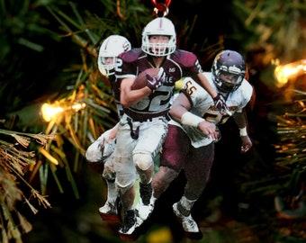 Sports Action Photo Ornament, Senior Night Gift, Photo Ornament, Football Wrestler Gift, Thanks coach gift, Number 1 fan Gift, Grandparents
