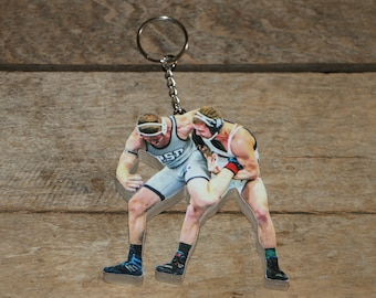 Wrestler Key Chain, Wrestling Sports Action Photo Key chain, Senior Night Gift, Photo Key Chain, Thanks coach gift, Picture Statuette