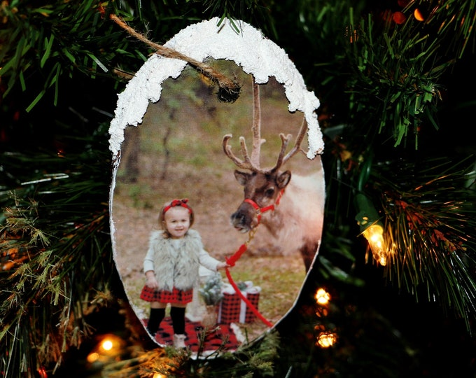 Featured listing image: Photo Christmas Ornament, Wooden Ornament, Wood Slice Ornament, Rustic Photo Ornament, Personalized Ornament, Photo Ornament Wooden Ornament
