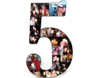 """5th Anniversary Number 5 five with Photos Number Collage 5th Wedding Anniversary 18"""" Huge Wooden Number Jersey Number Senior Awards Night"""