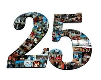 25th Anniversary, 25th Birthday Photo Collage Number, Number 25 with photos, Number 25,