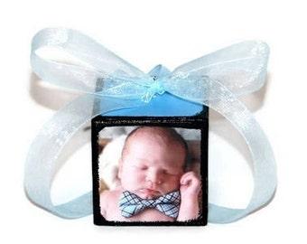 Handmade Christmas Ornament | Custom photo Ornament | Wooden Block | Christmas Keepsake | Baby's first Christmas | Baby's 1st Xmas | BLUE