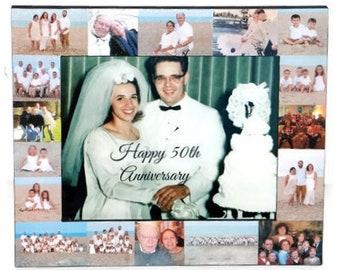 50th Anniversary Frame, Wedding Photos, I do, I love you frame, Happy Anniversary Frame, Personalized Anniversary Gift, Golden Wedding Gift