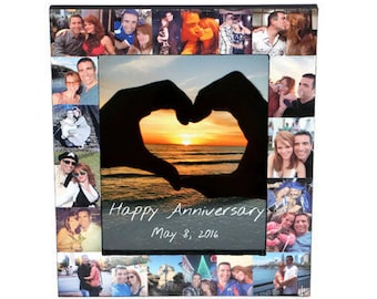 1 year Anniversary Picture Frame  Collage Personalized Gift Valentine's Day Best Friends Boyfriend Girlfriend I love you gift for her him