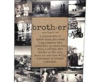 Brother gift, Quote, Hero Brother Quote, Gift for Brother, Personalized gift for Brother, Brother Keepsake, Brother Print of Burlap, Frame