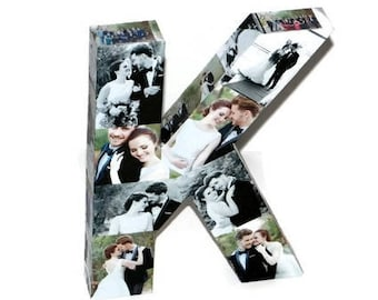 3D Letter Photo Collage, Wedding Centerpiece, Wedding Photo Display, Wedding Photo Album, Custom Photo Collage Letter, Custom Photo Letters