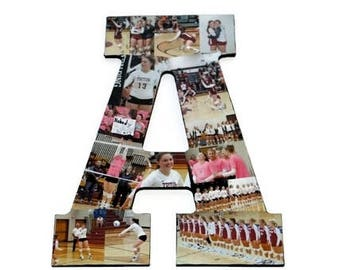 Senior Night | Letter A | Photo Collage Gift | Letter Photo Collage | Photo Collage Letter | Picture Collage | Letter with Pictures