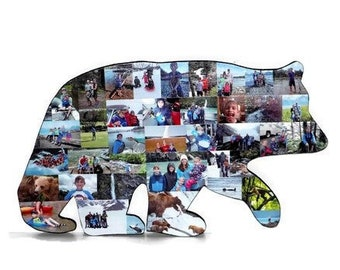 Bear Cut out with photos, Bear Collage, Hand cut Bear Shape, cut out Bear Figure,Large Photo Collage