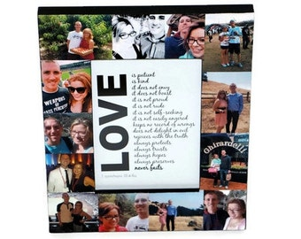 LOVE I love you Frame Wedding Vow Keepsake Handmade Collage Frame Boyfriend Picture Frame Collage Photo Husband Wife Newly wed Gift New home