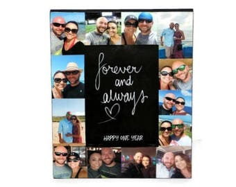 1 year Anniversary Picture Frame | Collage Frame | Forever and Always Frame | Personalized Frame Gift | Boyfriend Girlfriend | Anniversary
