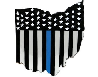 Thin blue line American Flag State of Ohio Wall Decoration | Police Officer Peace Patriotic Vertical Blue Line |
