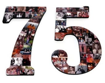 "Number 75 75th Birthday 75th Anniversary Number Photo Collage 18"" Senior Night Jersey Number Graduation centerpiece Surprise Party Decor"